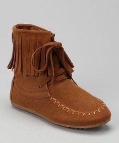 Camel Katherine Fringe Ankle Boot - man made vegan suede moccasins for little ones