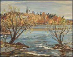 """""""The Madawaska at Arnprior,"""" Alexander Young (A.Y.) Jackson, oil on canvas, 25 1/4 x 32 1/4"""", private collection."""