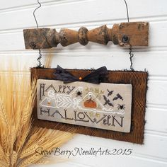 Happy Halloween Skeleton Wall Hanging by SnowBerryNeedleArts