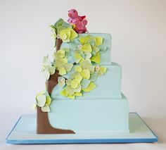 "Such a tremendously pretty, skillful, adorable bird topped ""tree"" cake. #bird #decorated #cake #birthday #layered #cute #beautiful #wedding #dessert"
