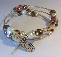 Mod:P87 pulsera de perlas de cristal en chapa de oro $89.00 mayoreo de 25% de descuento $64.00