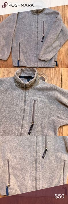Patagonia Classic Full Zip Fleece {unisex} FLASH Winter must have! Gray with blue zipper pulls. 3 zippered pockets. Windproof. Excellent condition except for light piling on cuffs as seen in photos. Patagonia Jackets & Coats