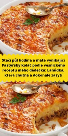 Stačí půl hodina a máte vynikající Pastýřský koláč podle vesnického receptu mého dědečka: Lahůdka, která chutná a dokonale zasytí Food Platters, Russian Recipes, Lasagna, Pork, Food And Drink, Menu, Cooking, Healthy, Ethnic Recipes