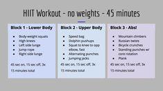 45 Min Workout, Hiit Workout Routine, Monday Workout, Hiit Workout At Home, Tabata Workouts, Hard Workout, At Home Workouts, Workout Plans, Body Weight Hiit Workout