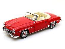 Norev 1/18 Scale 1957 Mercedes Benz 190 SL Red Diecast Car Model 183537 - Diecast Auto World www.DiecastAutoWorld.com 2312 W. Magnolia Blvd. Burbank, CA 91506 818-355-5744