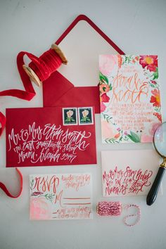Watercolor Blossoms Painted Wedding Invitations by ShannonKirsten