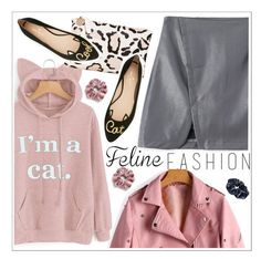 """""""The Cat's Meow: Feline Fashion"""" by teoecar ❤ liked on Polyvore featuring Topshop, MANGO, Clare V., Kate Spade and felinefashion"""
