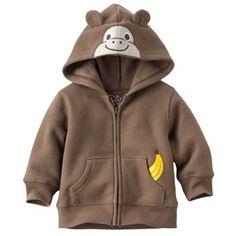 Jumping Beans Monkey Fleece Hoodie - Baby