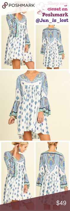 Boho Print Peasant Dress Small Bell Sleeve Boho Print Peasant Dress This bohemian beauty looks perfect with sandals or booties! Fabric: COTTON BLEND  Need measurements just askWoman's size Small (2-4).No Trades ✅Reasonable Offers Are Considered✅ Use the blue offer button. Dresses