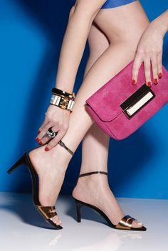 Women's Fashion: Mid Town (TIBI's metallic sandals with skinny ankle straps. Lauren Merkin bag, Stella & Dot bracelets, ABS by Allen Schwartz ring)