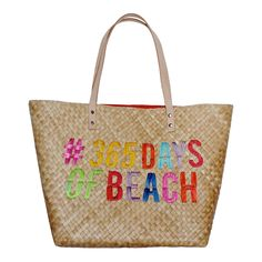Tote this bag and stand out!  These oh-so-Swell totes are the most fun statement accessory.  Fully lined in a complimentary color, select from #365 Days of Beach, #When Life Give you Limes..  or #Better Things are Coming or our classic unembroidered bag {just begging for a monogram}.  Bag features raw leather straps and an interior pocket.