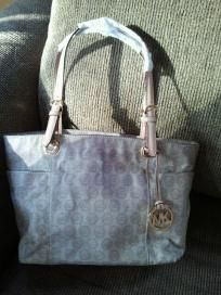 Michael Kors jet set beige tote bag MK logo monogram cotton canvas Purse