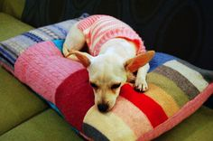 Patchwork Pet Bed #dogbed #DIY #patchwork