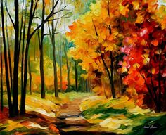 The Path To The Heart — Modern Fall Landscape Oil Painting On Canvas By Leonid…