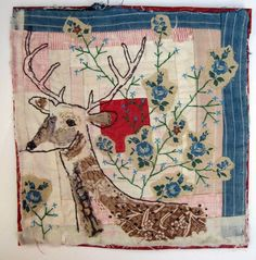 Vintage Hand Embroidery Love!! D.I.Y. Pattern Inspiration * Oh, Deer. Free form mixed media art quilt * Rustic Quilt Decor!