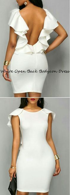 White Ruffle Open Back Bodycon Dress Sexy Dresses, Cute Dresses, Beautiful Dresses, Short Dresses, Fashion Dresses, African Dresses For Women, African Wear, African Fashion, African Women