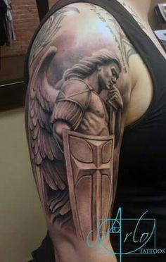Religious Tattoos For Guys Archangel Michael Tattoo, St Michael Tattoo, Hals Tattoo Mann, Tattoo Hals, Trendy Tattoos, Tattoos For Guys, Cool Tattoos, Tatoos, Men Tattoos