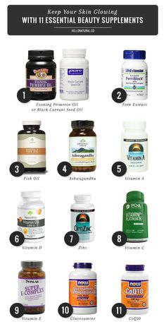 """11 Essential Beauty Supplements.. I take 7 of these 11 and I got asked if I was pregnant the other day cause my skin was """"glowing do much"""".. I'll take that complement!"""