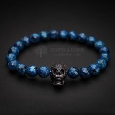 Skull Bracelet, Mens Blue Bracelet, Womens Bracelet, Gemstone Bracelet, Black Skull, Stretch Bracelet, Jewelry For Men by JuniperandEloise on Etsy