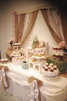 shabby chic baby shower ideas | Rustic Shabby Chic Cupcake Table by smiley17