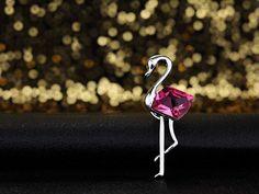 Swarovski Elements Pink 'Elegant Heron' Brooch Rhodium Plated -- Visit the image link more details. (This is an affiliate link) #NiceJewelry