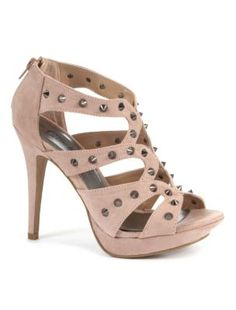Nude Studded Strap Cage Heels