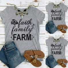 Women T-Shirts O-Neck Letter Print Short Sleeve Loose 2017 Summer Casual Top Female T Shirt Soft Grey Ladies Tops Tees Country Girls Outfits, Country Girl Style, Country Fashion, Cowgirl Outfits, My Style, Cowgirl Fashion, Cowgirl Clothing, Country Chic, Country Living