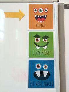 Met de monstermeter geef je een visueel beeld van de klassfeer. Zo herinner je de leerlingen er niet alleen verbaal aan.