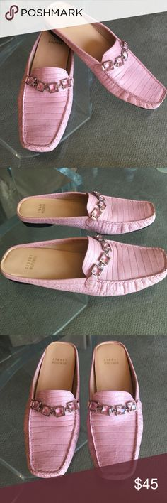 """Stuart Weitzman Baby Pink Croc Embossed Slip Ons Super chic and unique authentic Stuart Weitzman baby pink croc embossed slip ons! Embellished with pink crystals across the top, 1"""" flat heel. Leather upper, rubber sole, square toe. These are really comfortable and in fantastic condition!! Great summer shoe! Made in Spain. Stuart Weitzman Shoes Flats & Loafers"""