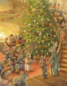 A 31 x print taken from the original artwork 'Surprise Party' by Chris Dunn. Illustration for 'Paisley Rabbit and the Treehouse Contest'. Fantasy Illustration, Illustration Artists, Watercolor Illustration, Beatrix Potter, Chris Dunn, Fantastic Art, Whimsical Art, Christmas Art, Christmas Ideas