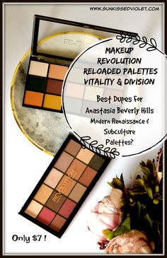 MAKEUP REVOLUTION Reloaded Palettes in  Vitality & Division:Swatches, Review and comparison with Anastasia Beverly Hills Modern Renaissance & Subculture Palettes. #cosmetics #makeupdupe #MakeupRevolution #eyeshadow