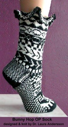 free knit sock pattern - Bunny Hop OP Sock - angora blend  Crystal Palace Yarns (Too cute...just not sure how to wear it to show it off!)
