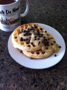 Breakfast: I woke up craving my old fav chocolate chip Eggo's. And I was hungry!  So between crawling out of bed, but faster than I used to, and finishing this ^ I: Toasted 2 Van's original waffles Mashed until liquid 1/2 banana and stirred in 1 tsp honey Topped with mini choc chips.  It satisfied my sweet tooth AND my food options.