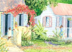 Neighbours by Anne Miller, x watercolour print Watercolor Print, Beautiful Paintings, Caribbean, Watercolours, Architecture, Gallery, Inspiration, Art, Arquitetura
