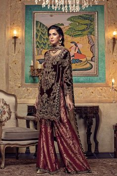 Maria B Couture Latest Fancy Formal Wedding Dresses consisting of beautiful luxury embroidered party & wedding wear suits designs with modern cuts! Pakistani Dresses Online Shopping, Online Dress Shopping, Party Wear Dresses, Bridal Dresses, Chiffon Dresses, Velvet Dresses, Chiffon Shirt, Pakistani Wedding Outfits, Pakistani Bridal