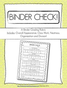Binder Check Rubric! Great for teaching organization at any age!
