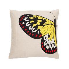 Colorful Butterfly Linen Pillow with Side Butterfly on Right Beads
