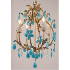 Stella 4 Light Chandelier Gold Turquoise from GlamFurniture.com - $437.00