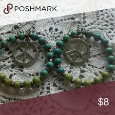 Beaded Peace Sign Hoop Earrings Welcome to American Hippie! I am so glad you found me. All of my designs are unique, one-of-a-kind creations that bring back the comfort of being you.  ~~  These fun beaded earrings will complete your look. Jewelry Earrings