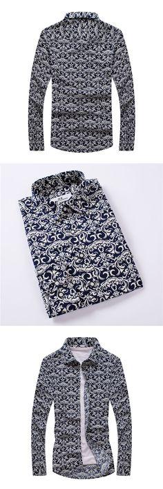 Men's Printed Shirts  New Spring Men Casual Shirts Fashion Long Sleeve Brand Printed Button-up Formal Business Men Dress Shirt