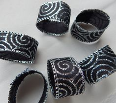NAPKIN RINGS Black and Silver Scroll by ModernClassicbyCarol