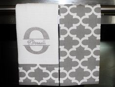 Split Initial and Name Monogram Kitchen Towels or by DesignsByThem