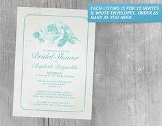 Aqua Rustic Floral/Flower Bridal Shower Invitations