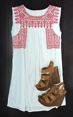 White long airy cotton shirt/dress with red embroidered Mexican-style detail and sandals, Nordstrom