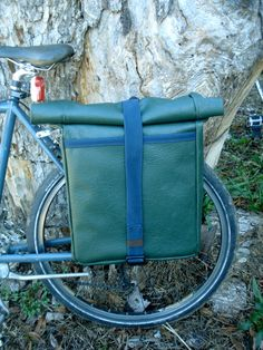 Large Bicycle Panniers- SET OF 2- Vinyl and Cordora. $140.00, via Etsy.