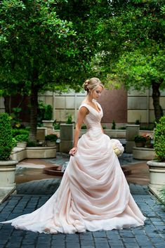 Such a pretty blush colored wedding gown.