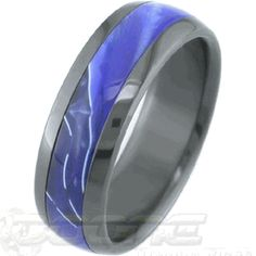Executive Inlay Black Zirconium Ring, Black Zirconium Rings - Titanium-Buzz.com