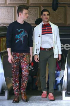 On-screen couple Chris Colfer and Darren Criss film scenes for the final episode of 'Glee' at Downtown LA - Los Angeles, California, United States - Friday 20th, 2015.