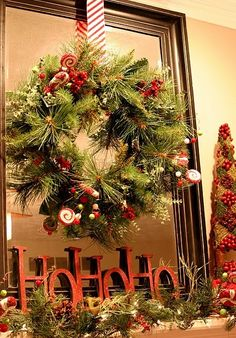 Hang a wreath on a mirror on your mantle.