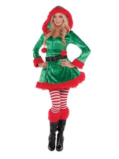 This elf knows how to party! Our flirtatious, sassy costume for women features a red and green hooded dress with fur trim and waist-cinching belt. Christmas Elf Costume, Halloween Costume Shop, Halloween Costumes For Kids, Toddler Costumes, Adult Costumes, Costumes For Women, Costume Lutin, Christmas Fancy Dress, Womens Christmas